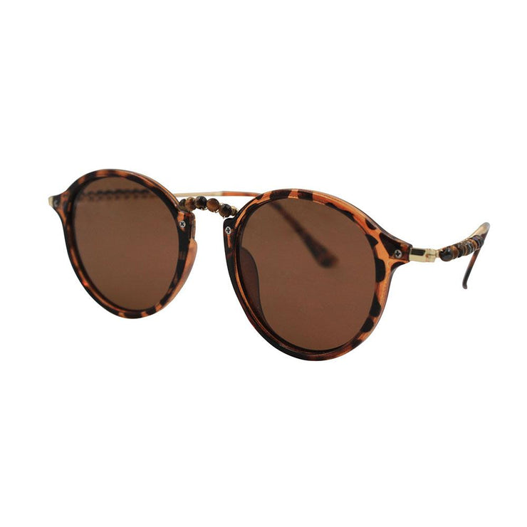 sunglasses EASTWOOD Retro Round Tortoise and Tiger's Eye Sunglasses Lisa Ing