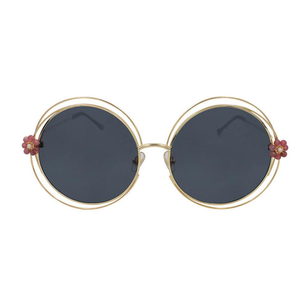 sunglasses GYPSY ROSE Oversized Round Pearl and Pink Tourmaline Flower Sunglasses Lisa Ing