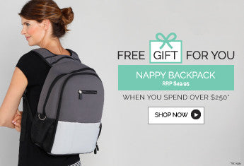 FREE GIFT: Bonus Nappy Bag for all Purchases Over $250