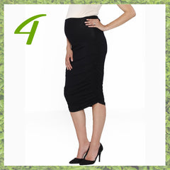 ANGEL MATERNITY SIDE RUCHING HIGH WAIST SKIRT IN BLACK
