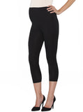 Basic Maternity Foldable Waist 3/4 Length Capri Legging - Black