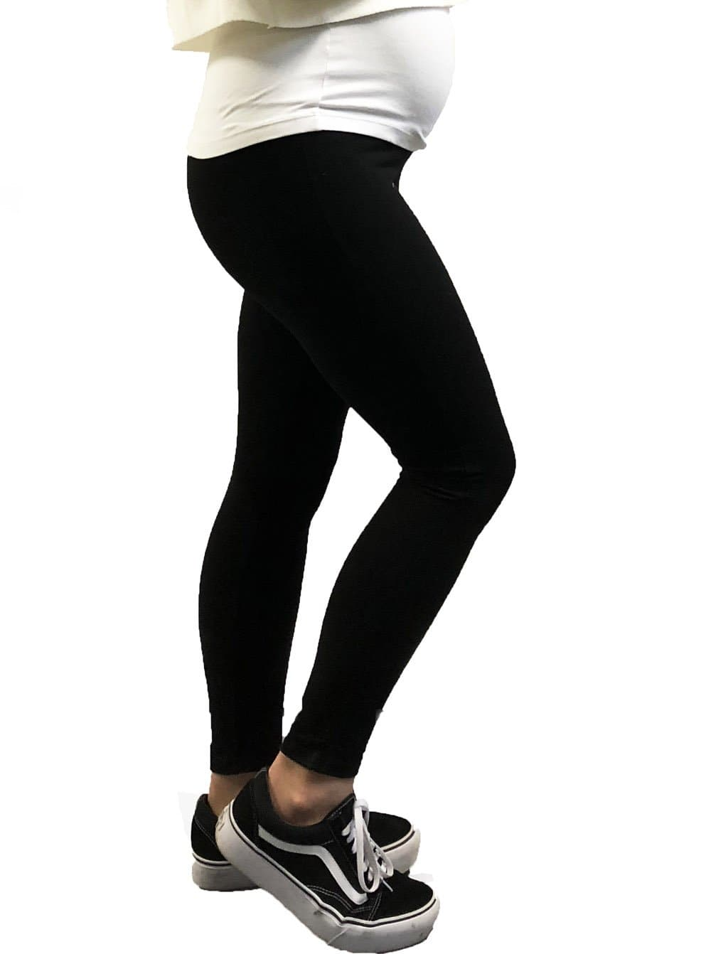 Maternity Overbelly Support Ankle Grazer Leggings - Black