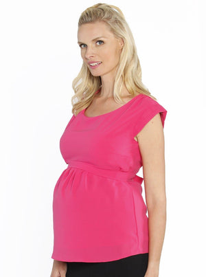 Maternity Tie Back Dressy Top with Back Zipper - Hot Pink