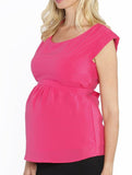 Maternity Tie Back Dressy Top with Back Zipper - Hot Pink - Angel Maternity - Maternity clothes - shop online