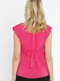 Maternity Tie Back Dressy Top with Back Zipper - Hot Pink back