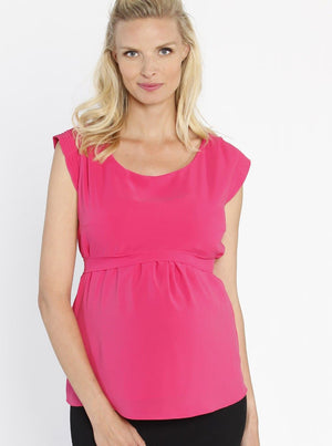 Maternity Tie Back Dressy Top with Back Zipper - Hot Pink front