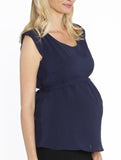 Maternity Tie Back Dressy Top with Back Zipper - Navy - Angel Maternity - Maternity clothes - shop online