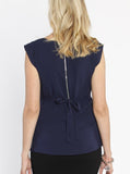 Maternity Tie Back Dressy Top with Back Zipper - Navy back