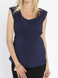 Maternity Tie Back Dressy Top with Back Zipper - Navy front