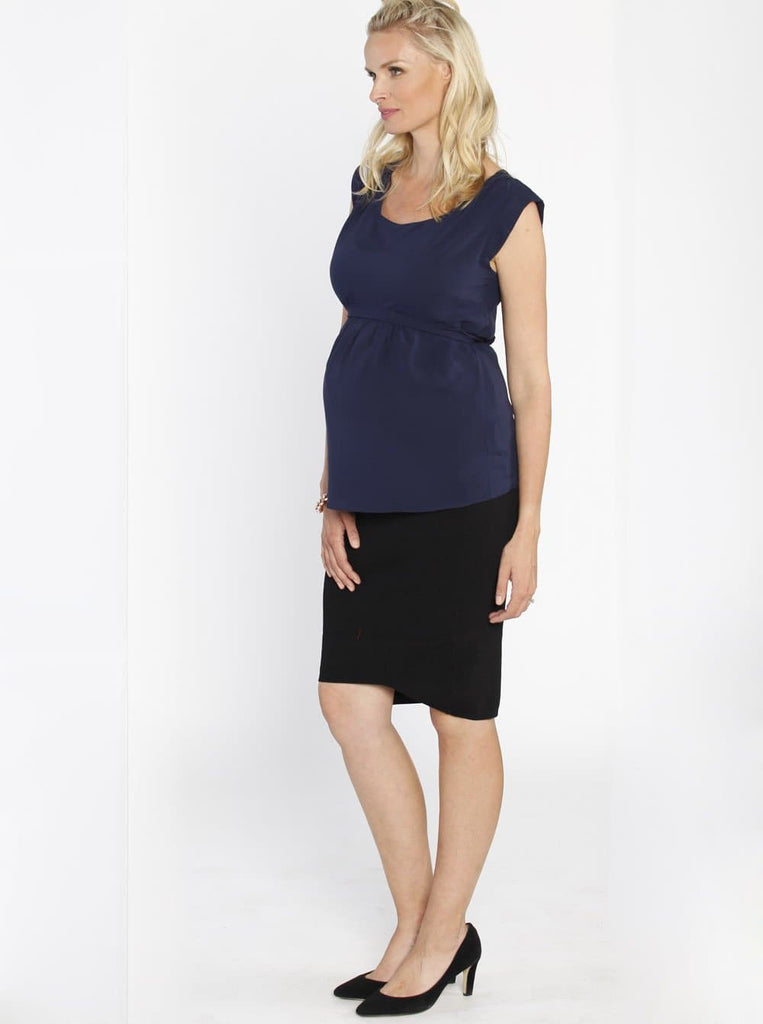 Maternity Tie Back Dressy Top with Back Zipper - Navy outfit