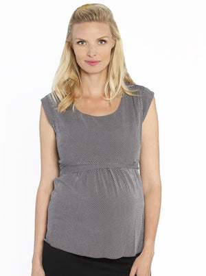 Maternity Work Outfit: Tie Back Dressy Top & Stretchy Skirt in Black - Angel Maternity - Maternity clothes - shop online