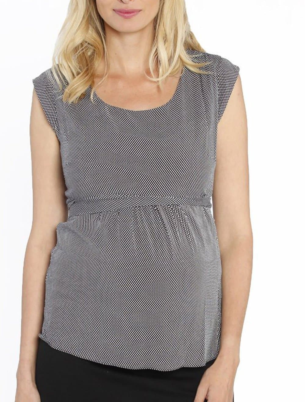 Maternity Tie Back Dressy Top with Back Zipper - Checker Print - Angel Maternity - Maternity clothes - shop online
