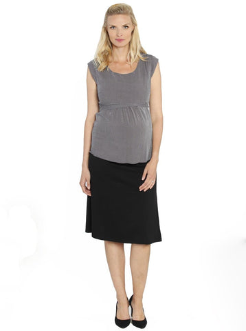 """The Rouched"" Maternity Bamboo Skirt - Black"