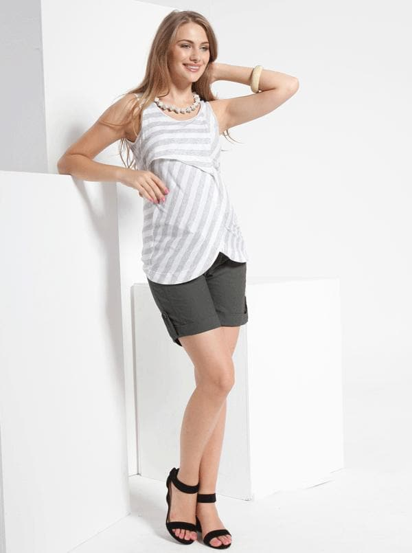 Angel Maternity Linen shorts With Fold Up Bottom Hem in Charcoal