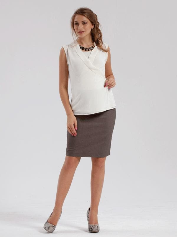 Angel Maternity  Skirt in Classic Straight Cut - Taupe