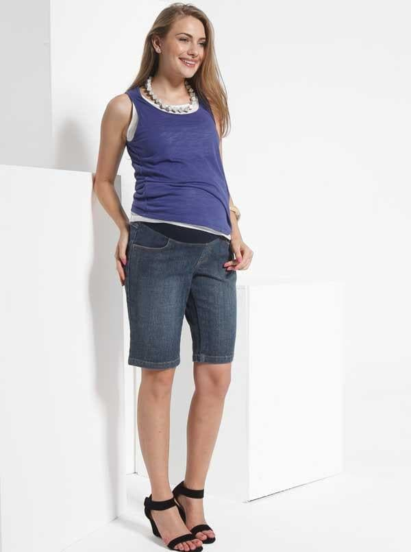 Angel Maternity  Denim Jean Shorts - Stone Wash