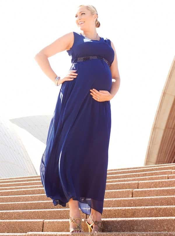 "Angel Maternity ""Marianne"" Maxi Evening Dress in Egyptian blue"