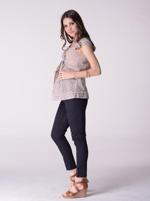 Angel Maternity Soft Cotton maternity 7/8 pant in Dark Grey