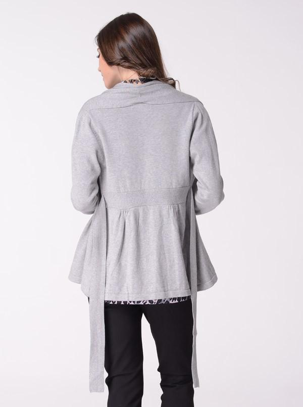 Angel Maternity Roll Collar Knitted Cardigan with Waist Tie - Grey