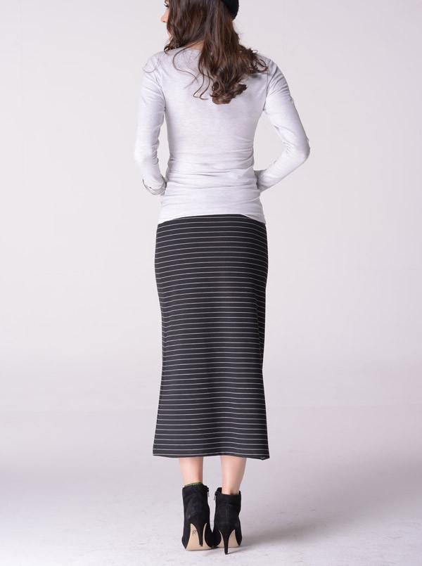 Angel Maternity  Skirt in Tube Style in Black/Snow Stripe