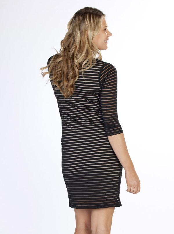 Angel Maternity Long Sleeve Fitted Dress -  Black Stripe