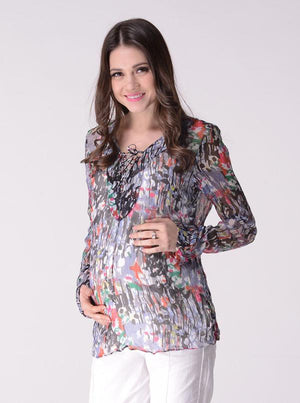 Maternity Chiffon Long Sleeve Sheer Blouse in Black & Red Print - Angel Maternity - Maternity clothes - shop online