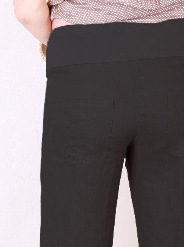 Essential  100% Maternity Linen Pants - Black - Angel Maternity - Maternity clothes - shop online