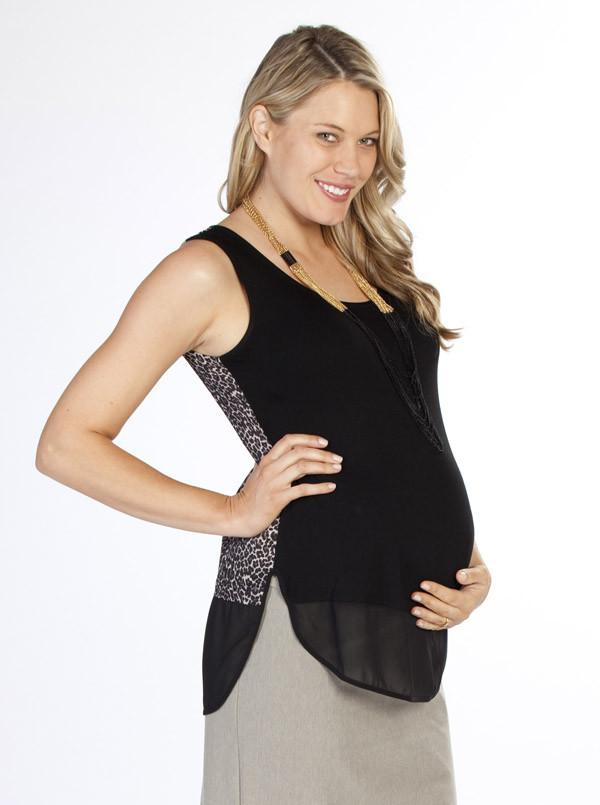 Angel Maternity Semi Sheer Chiffon Tank Top - Leopard