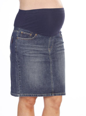 Maternity Denim Skirt - Stone Wash - Angel Maternity - Maternity clothes - shop online