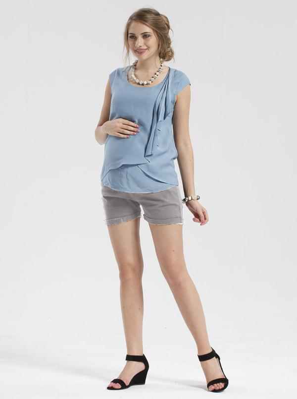 Angel Maternity  Super Stretchy Mini Shorts in Light Grey