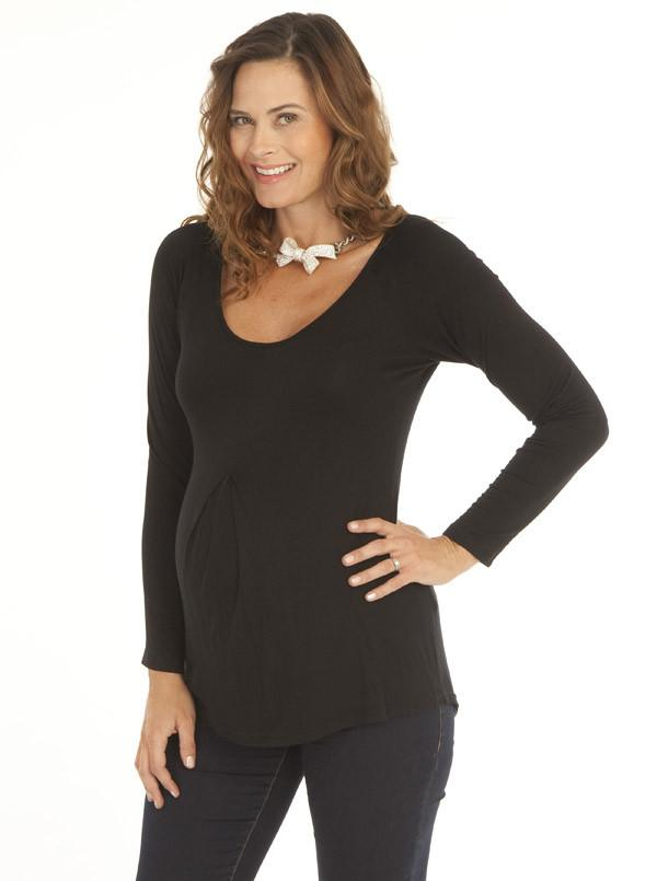 Maternity V-Neck Long Sleeve Cotton Blouse - Black