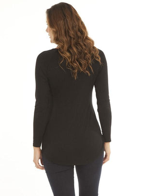 Angel Maternity V-Neck Long Sleeve Cotton Blouse - Black