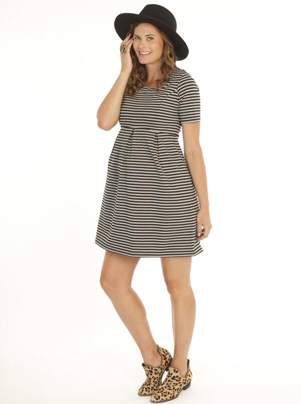Angel Maternity Angel Maternity Ponti Dress - Grey Stripe