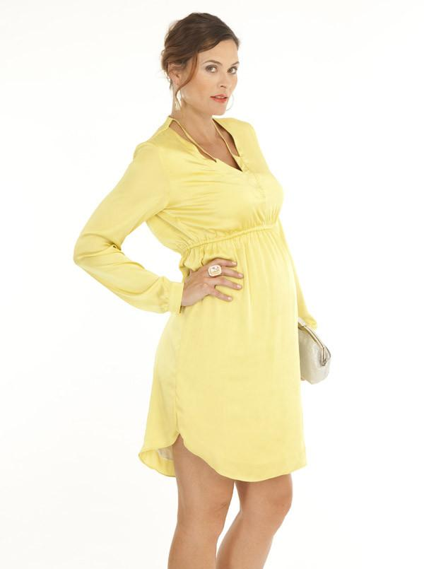 Angel Maternity Party Dress with V Neckline Details - Mustard
