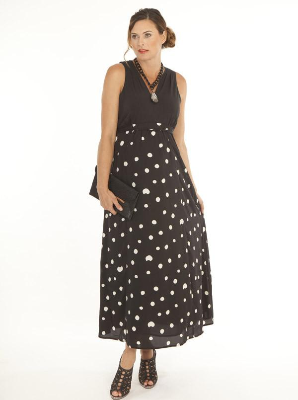 Angel Maternity Party Maxi Dress in Black Dots
