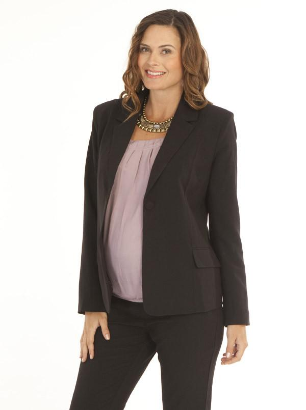 Maternity Maternity Button Front Woven Work Jacket in Black