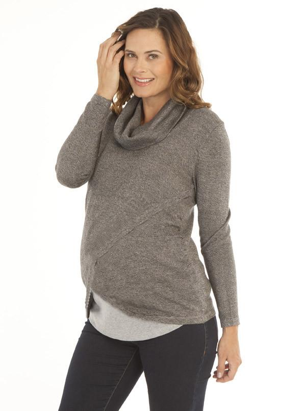 994925c5e2c73 Petal Front Layered Knitted Nursing Top - Grey – Angel Maternity