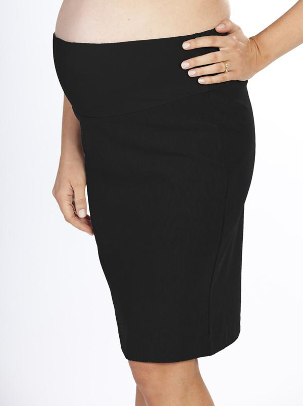 Angel Maternity Highwaist Straight Cut Maternity Work Skirt -Black