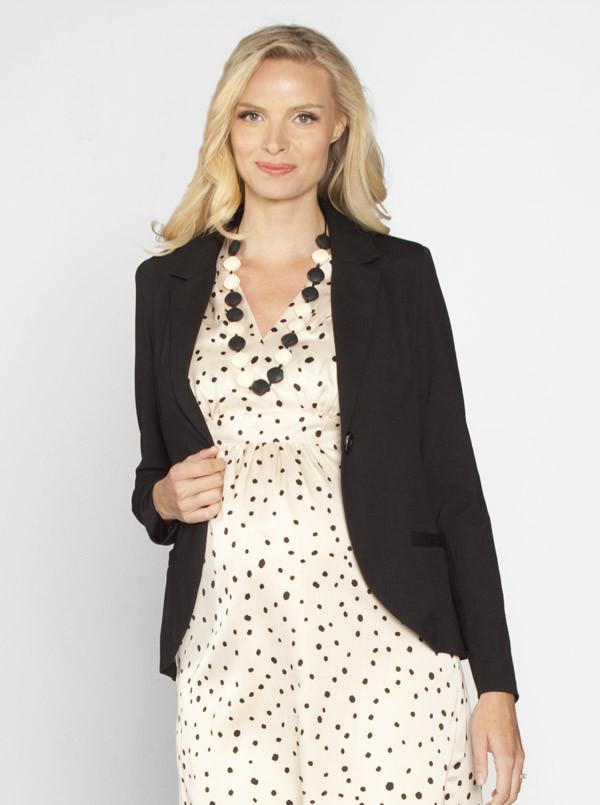 Maternity Button Front Ponti Jacket in Black - Angel Maternity - Maternity clothes - shop online