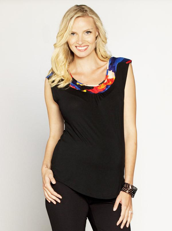 Angel Maternity Little Jersey Top with Printed Neckline - Black