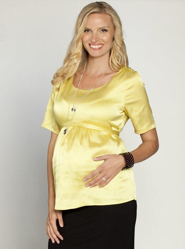 Maternity Tie Back Chiffon Dressy Short Sleeve Top - Mustard