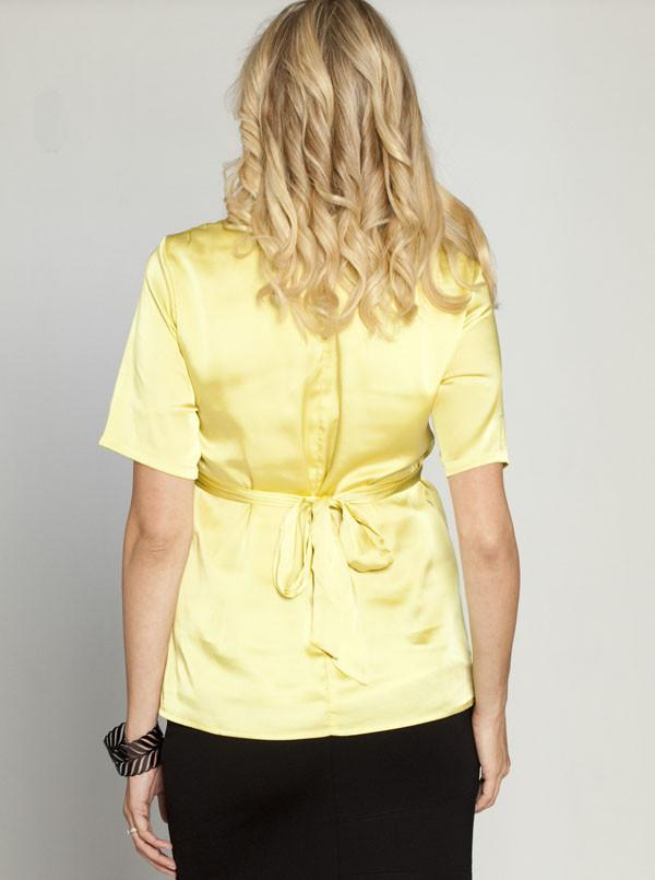 Angel Maternity Tie Back Chiffon Dressy Short Sleeve Top - Mustard