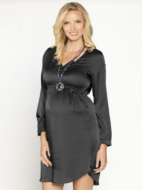 Maternity Party Dress with V Neckline Details - Black