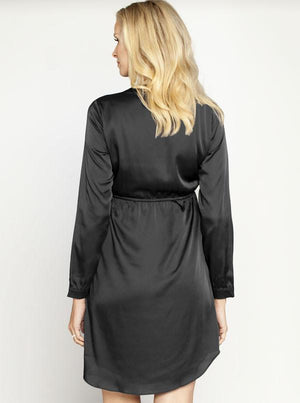 Angel Maternity Party Dress with V Neckline Details - Black