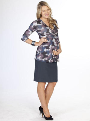 Angel Maternity Straight Cut Over Belly Work Skirt in Dark Blue