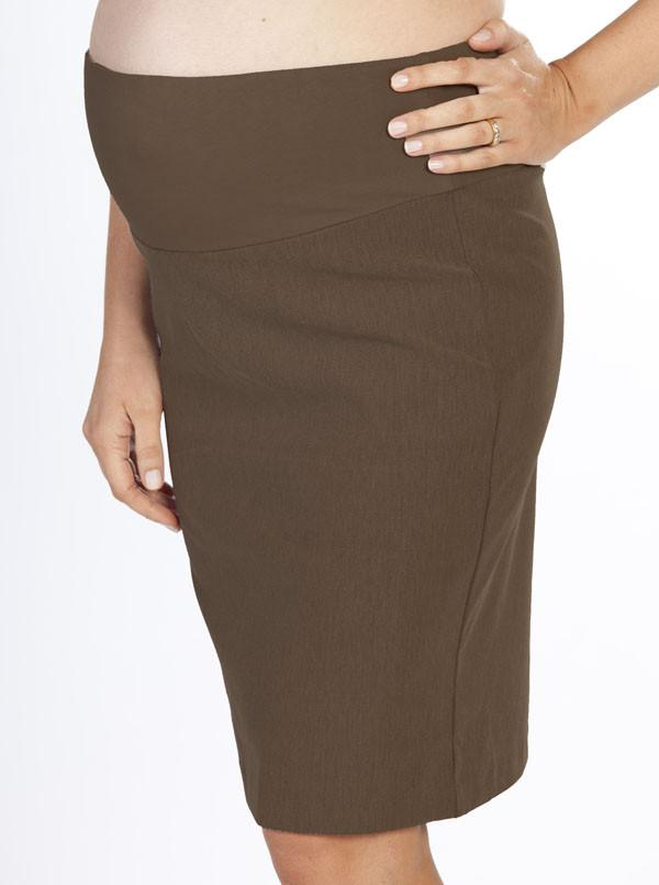 Angel Maternity Straight Cut Over Belly Work Skirt in Brown