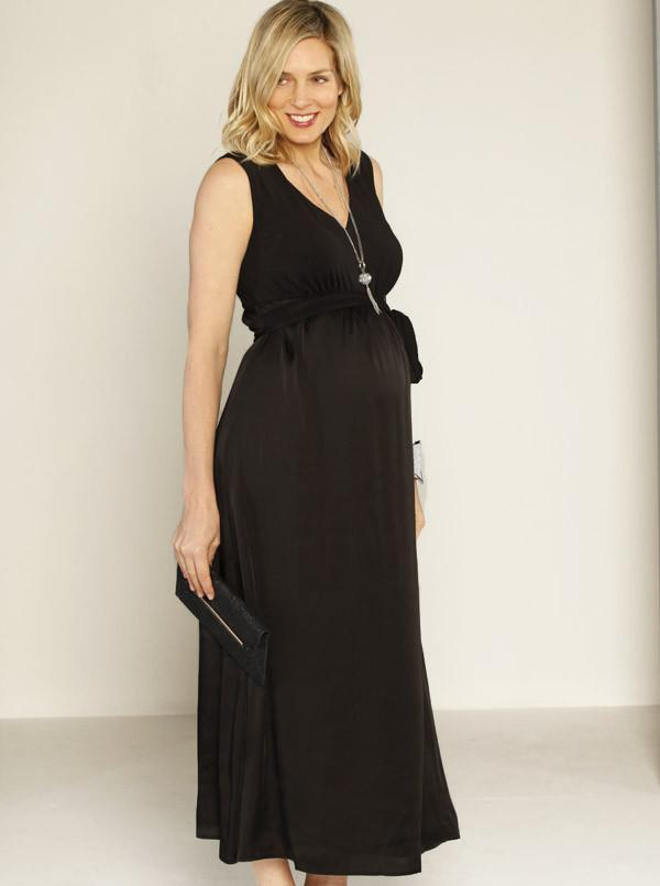 Maternity Long Evening Chiffon Dress in Satin Black - Angel Maternity - Maternity clothes - shop online