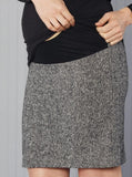 Angel Maternity Wool Skirt in Classic Straight Cut -Grey