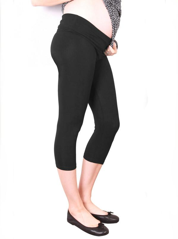 Maternity High Waist Adjustable Band 3/4 Length Legging - Black