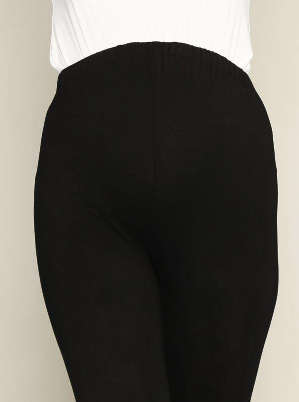 Angel Maternity High Waist Adjustable Band 3/4 Length Legging - Black